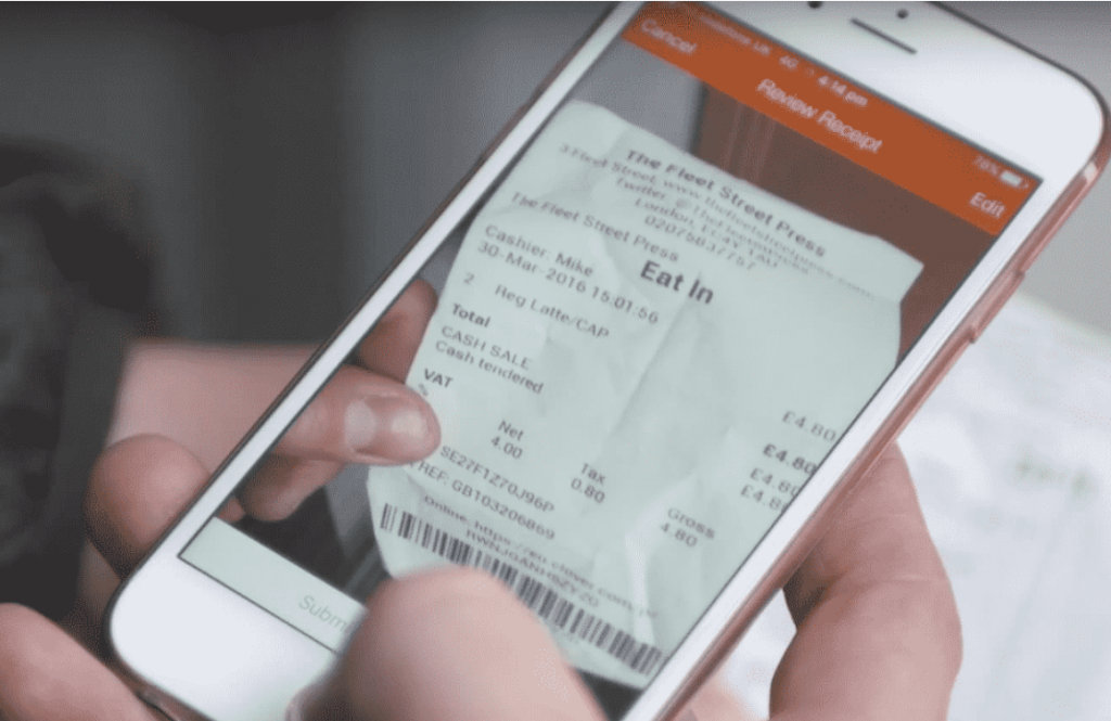 Take a photo of your receipt using the Receipt Bank app.